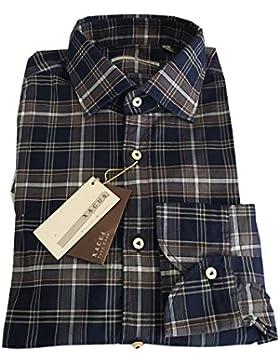 XACUS camicia uomo quadri 100 % cotone vestibilità slim 39 15 1/2