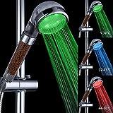 Soffione doccia, Marsoul 3 colore cambia LED controllo della temperatura, doccetta acqua della testa di risparmio Filtro filtrazione doccia spray doccia a telefono (25*8cm, 3 colore controllo della temperatura)