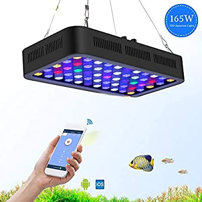 ZWD 165W Eclairage Aquarium WiFi dimmable LED Aquarium lumière Marine lumière Aquarium LED Lampe d'éclairage pour récif Corail Poisson LED Grandir lumière pour réservoir de Poissons