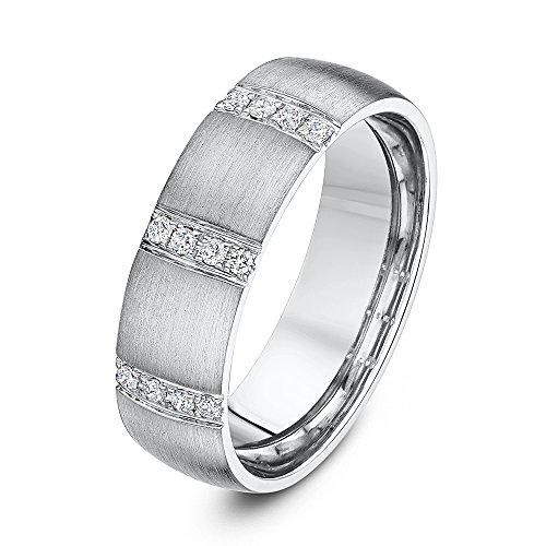 Theia Ehering Palladium 950 Court Shape 0.12ct Rundschliff Diamant, Eingeriebene Fassung 6mm - Größe 62 (19.7)