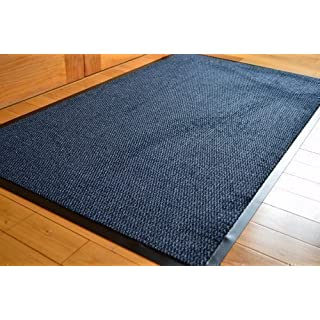 BIG EXTRA LARGE BLUE AND BLACK BARRIER MAT RUBBER EDGED HEAVY DUTY NON SLIP KITCHEN ENTRANCE HALL RUNNER RUG MATS 120X180CM (6X4FT)