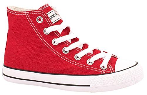 Damen Sneakers High Top Sportschuhe Kult Laufschuhe Runners Fitness New Look Textil Canvas Schuhe, 44 Rot 2
