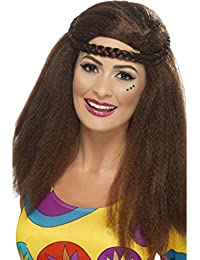 Brown Hippy Afro Wig Fancy Dress Ladies Hippie 60s 70s Womens Groovy Costume Wig