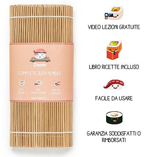 Doodee Kit Sushi Fai da Te - Video Ricette e Libro di Ricette in Italiano - Set con Stuoia in Bamboo, Bacchette, Cucchiaio e Coltello per Riso - Ideale per Hosomaki Futomaki Nigiri