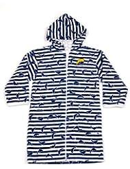 Surfit - Albornoz para niño (8-10 años), diseño a rayas y con delfines, color blanco y azul