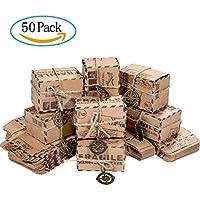 Caja de Dulces, ZWOOS Cajas de Dulces de Papel Kraft con Cuerdas y Colgantes Cajas de Regalo Retro de Dulces, Chocolate y Joyas [50 piezas]