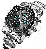 BHGWR Orologio digitale analogico da uomo - Orologio sportivo militare da uomo con sveglia/conto alla rovescia/cronometro, orologio da polso impermeabile in acciaio INOX con quadrante grande da uomo