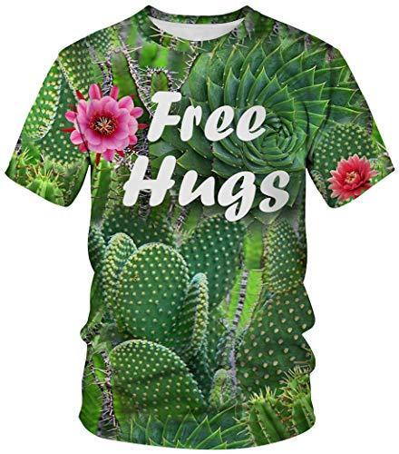 Ocean Plus Unisex Rundhals Sportswear T-Shirt Kostüm mit Aufdruck Fasching Größen S-3XL Tops mit Kurzarm (XXL (Referenzhöhe: 175-180 cm), Free Hugs) (Vampir Kostüm Plus Größe)