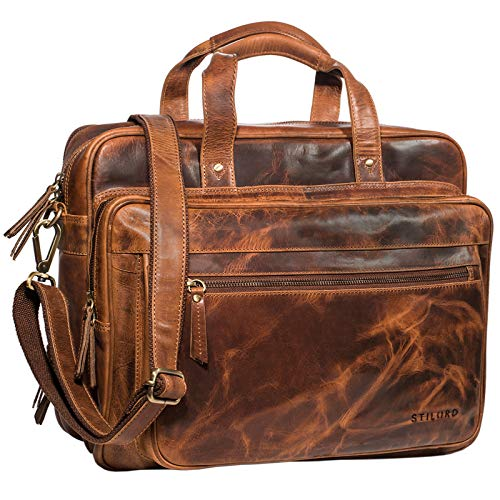 STILORD \'Walt\' Vintage Aktentasche Leder Herren Damen Lehrertasche XL groß Büro Business Umhängetasche für 15,6 Zoll Laptop Echt Leder, Farbe:Kara - Cognac
