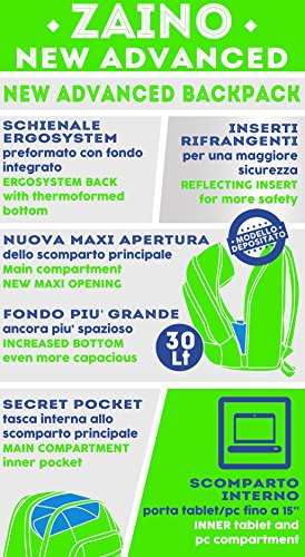 Zaino scuola advanced SEVEN - BITMAP - Blu Nero Verde - 30 LT - inserti rifrangenti