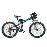 K660 24 Zoll, 48V 240W faltendes elektrisches Fahrrad, Vollfederung, Scheibenbremsen, E-Fahrrad, Mountainbike. (Schwarz Blau, Plus 1 Spared Batterie)