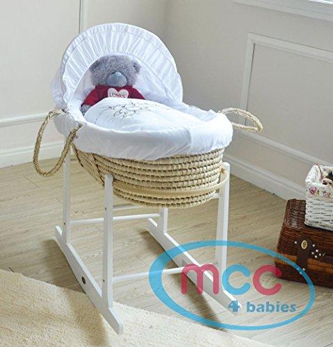 Mcc moses palm, cestino per neonato, con biancheria da letto orsetto, materasso. include supporto a dondolo
