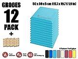 Super Dash Baby Blau (12 Stücke) von 50 X 50 X 5 cm Bevel Decke Studio Akustikschaumstoff Noppenschaumstoff Akustik Dämmmatte Schallisolierung Schaumstoff Polster Fliesen SD1039