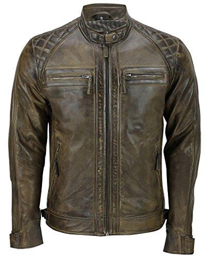 Herren Braun Retro Gesteppte Echt Nappa Bikerjacke aus Leder XL (Jacke Diamant-gesteppte)