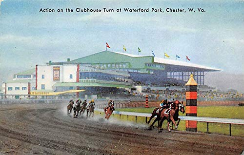 Chester, W Va, USA Clubhouse Turn, Waterford Park Horse Racing Postcard 1961 Missing Stamp Waterford Park