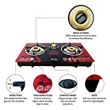 ACTIVA Surya AKSH AUTO Ignition TOP Glass 3 Burner Gas Stove (RED)