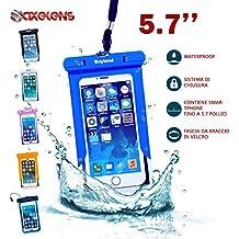 CUSTODIA WATERPROOF UNIVERSALE COVER IMPERMEABILE SUBACQUEA - Fino a 5.7 pollici - Smartphone fino a 16 x 9 cm - AZZURRO