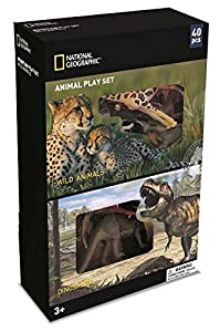 Wenno USA National Geographic 40 Piece Play Set with Wild Animals and Dinosaurs Figurines, 40 Pieces