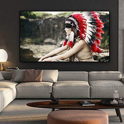 Retrato Indio Indio Tocado Pintura escandinava enmarcada