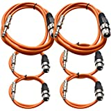 "Seismic Audio - SATRXL-F6C-Orange - 6 Pack Of Orange XLR Female To 1/4 Inch TRS Patch Cables- XLR To TRS Cable Kit - Two 6 Ft, Two 3 Ft, Two 2 Ft XLR-F To 1/4"" Patch Cords"