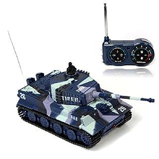 Atdoshop New Mini 1:72 49MHz R/C Radio Remote Control Tiger Tank 20M Kids Toy Gift Army (Blue) by atdoshop