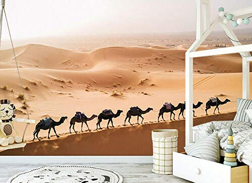 QBTE 3D Desert Camel Selbstklebende TV-Hintergrundtapete Sofa Hintergrund 250 * 175cm