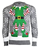 Herren Damen Unisex Christmas Reindeer Gingerbread Man Neuheit Strick Jumers (Mens M (Ladies 40-42), Elf Grau)