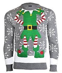 Idea Regalo - NOROZE Maglione da uomo, motivo natalizio, lavorato a maglia, con cappellino in omaggio Mid-grey L