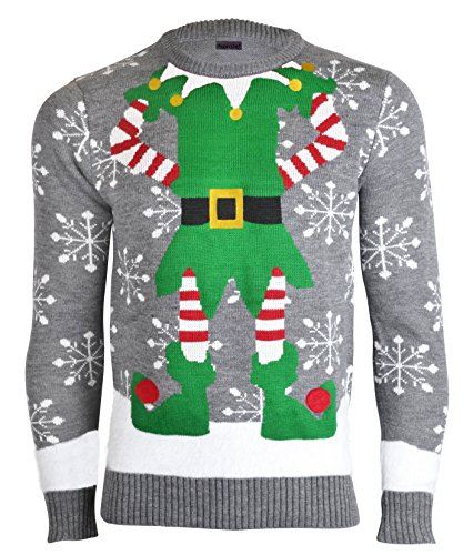 Herren Damen Unisex Christmas Reindeer Gingerbread Man Neuheit Strick Jumers (Mens L (Ladies 44-46), Elf Grau)
