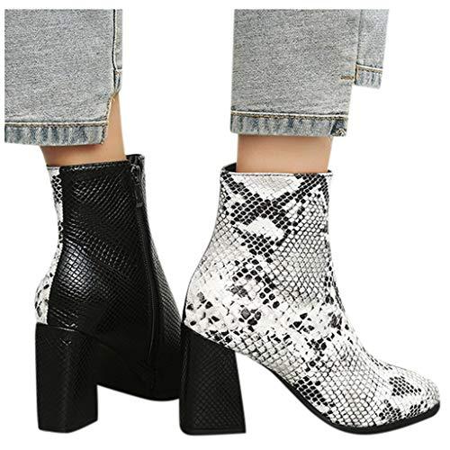 DNOQN Frauen Stiefel Halbe Stiefel High Heels Absätzen Wies Mode Schlange Muster Schuh Knöchel Größe Ankle Boots Weiß 42 (Stiefel Echte Schlange)