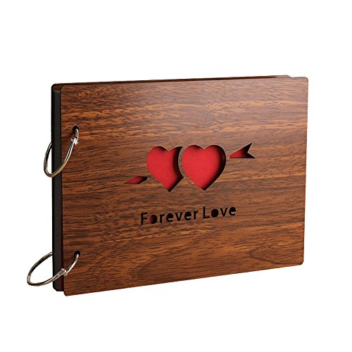 Sehaz Artworks Forever Love Wooden Scrapbook Photo Album for Memorable Gift on Boyfriend Girlfriend Husband Wife Spouse Birthdays, Valentines Day, Anniversary, Monthsary for Couples