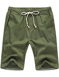Ansenesna Shorts Herren Baumwolle Leinen Freizeit Sommer Kurz Hose mit  Gummibund Taschen Knielang Einfarbig Freizeithose 7d5557d41d