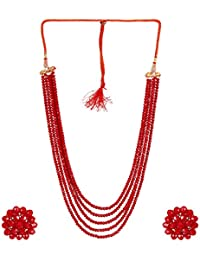 A2 Fashions Maroon Crystal Beaded Multi Layered Necklace Set For Women And Girls