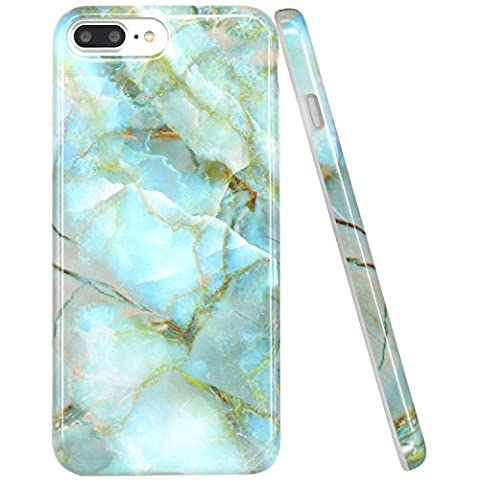 iPhone 7 Plus Case, JIAXIUFEN Jade Green Marble Design Clear Bumper TPU Soft Case Rubber Silicone Skin Cover for Apple iPhone 7