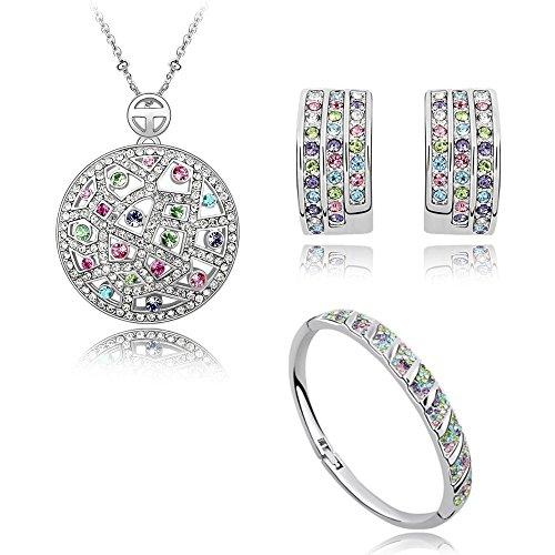 90feeef3df0c Colorido Crystals from Swarovski Juego de joyas Collar con colgante 45 cm  Pendientes Bangle18k Chapado en