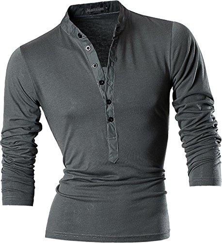 Jeansian Uomo Sport Estate V-NECK Manica Corta Tee Moda Men Casuale Slim Fashion T-Shirts D509 Darkgray