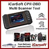 iCarsoft cpii Citroen/Peugeot Smart Diagnostic Scanner Tool SRS ABS Freno Motor Reset EBP SAS