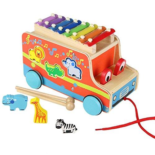 ACOOLTOY Bus de Cute à Tirer en Bois Coloré-Véhicule Miniature-avec de Pièces Animaux à Empiler et 8 Touches Xylophone pour Enfant