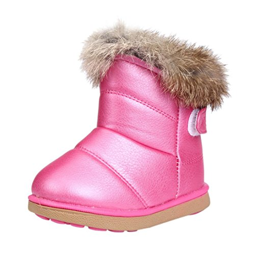 Baby Schuhe Sonnena Winter Jungen Mädchen Kind Leder Schuhe Martin Stiefel warm Schuhe, 1–6Alter 3-4Age hot pink