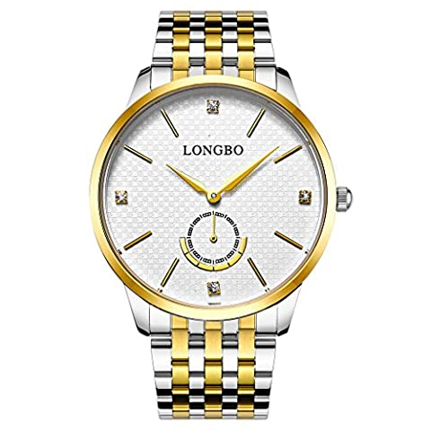 Longbo Luxus Herren Gold Ton Edelstahl Stahl Band Analog Quarz Business Watch Vintage Paar Kleid Watch Strass Fake Chrono Eye weiß Armbanduhr für Gentleman