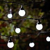 Lights4fun Guirlande Guinguette Extérieure Raccordable avec 100 Globes LED Blanches sur Câble Vert Foncé, Série Pro