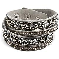 BC1584F-Cinturino a doppio giro in feltro con perla di Rocaille grigio e Strass, modalità fantasia