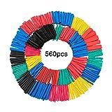 SENZEAL 560 x Schrumpfschlauch Kabelrohr Hülse hitzebeständige Schrumpfverpackung Elektroisolierrohr Schutz 5 Farben 12 Größen