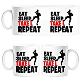 Taza Eat Sleep Take L Repeat - Cerámica