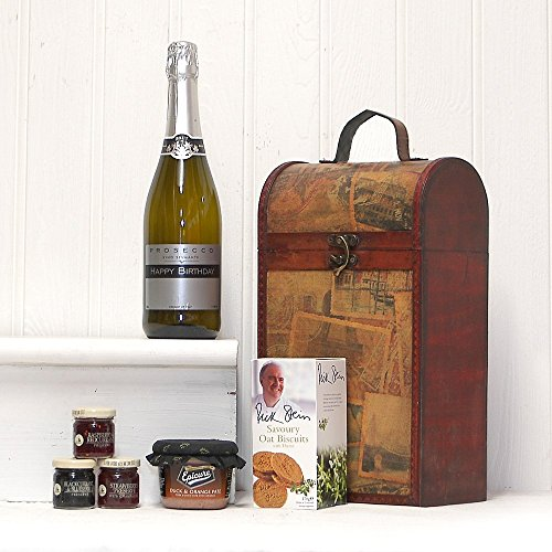 'Happy Wedding Anniversary' Prosecco and Food Gift Hamper Presented in a Clarendon Vintage Style Wine Carrier - Gift Ideas for Wedding Anniversary