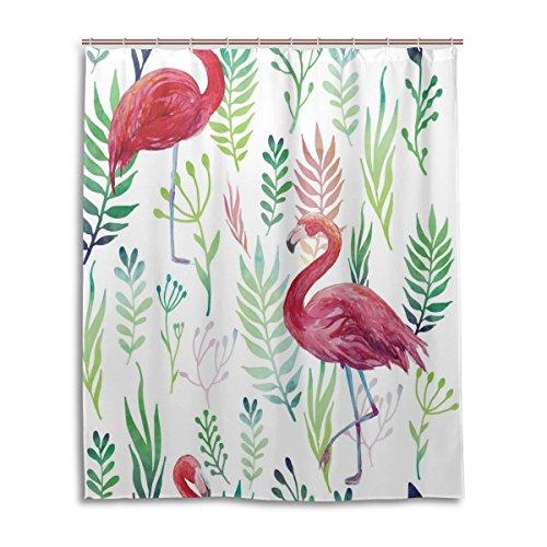 cortina-de-ducha-de-bano-60-x-72-inch-tropical-hojas-de-flamencos-tela-de-poliester-a-prueba-de-moho