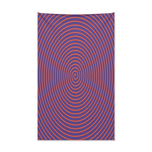 ABAKUHAUS Psychedelisch Wandteppich und Tagesdecke, Hypnotische Spirale aus Weiches Mikrofaser Stoff Kein Verblassen Klare Farben Waschbar, 140 x 230 cm, Orange Violett - Hypnotische Violett