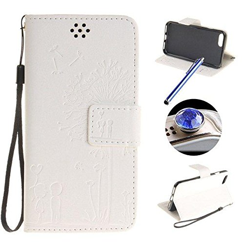 Etsue iPhone 7 Plus Coque,Premium Folio Cuir [Pissenlit Rose Motif] Embossing Portefeuille avec Cordon Lanyard Retro Housse pour iPhone 7 Plus,Support Flip PU Leather Wallet Case Coquille pour iPhone  Pissenlit Blanc