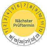 Avery Zweckform 6932 Prüfplaketten (80 Etiketten, nächster Prüftermin 2018-2023, Durchmesser 30 mm) 10 Bogen, gelb