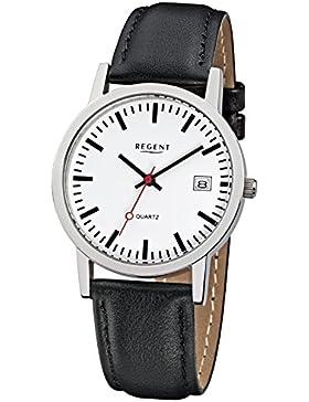 Regent Damen Herren-Armbanduhr Elegant Analog Leder-Armband schwarz Quarz-Uhr Ziffernblatt weiß URF794